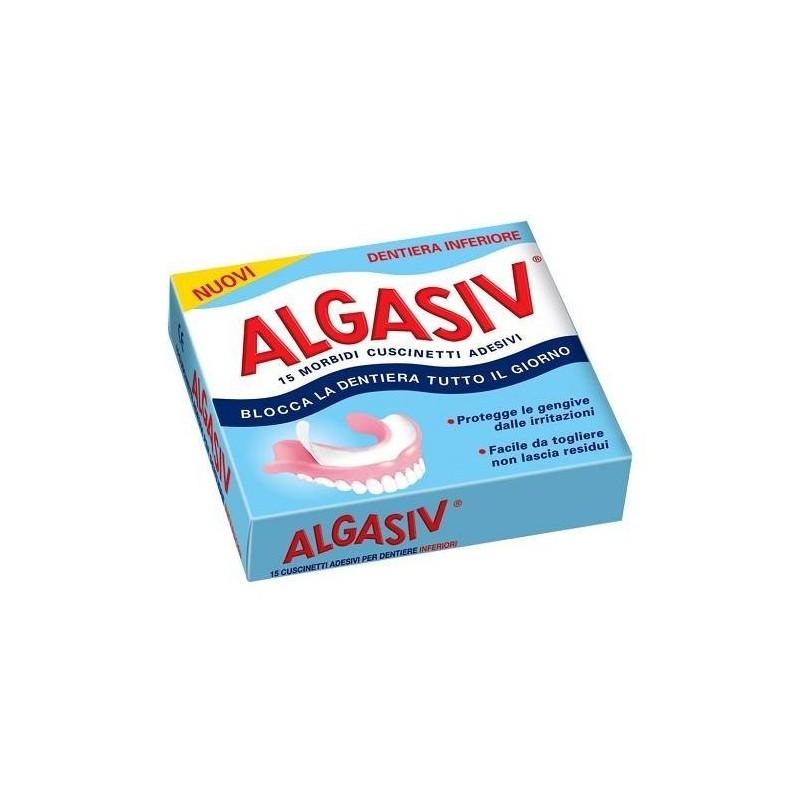 Algasiv Cuscinetti Adesivi Naturali Per Dentiera Inferiore 15 Pezzi