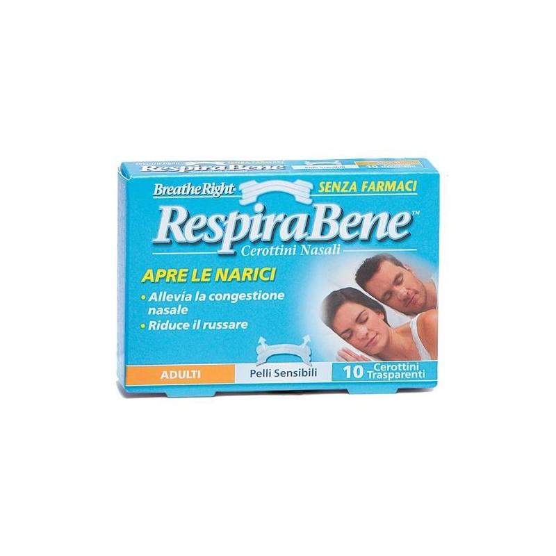RespiraBene Cerotti Nasali Trasparenti Adulti Pelli Sensibili 10 Pezzi