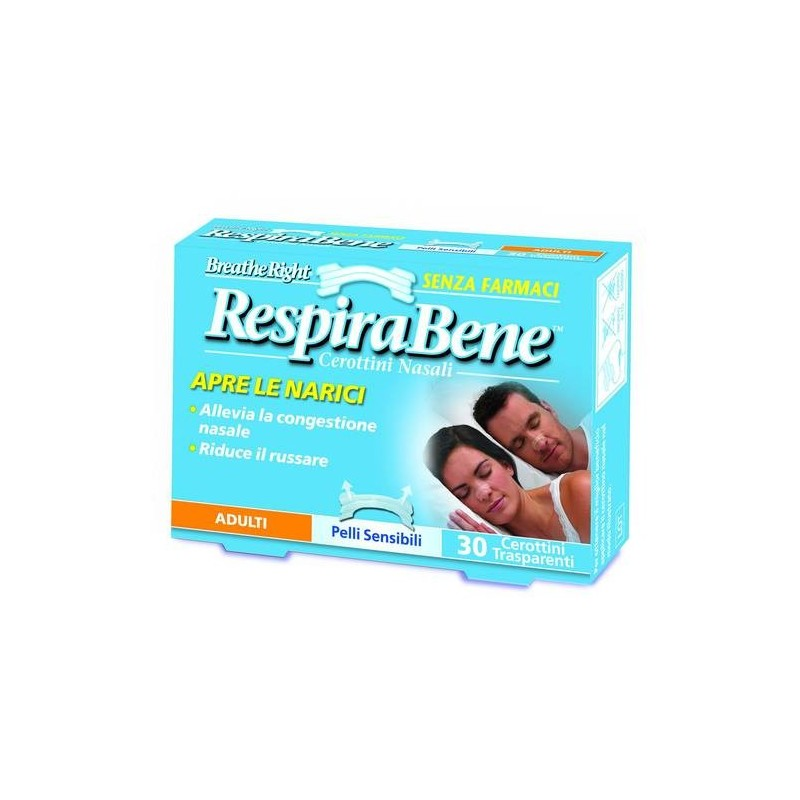 RespiraBene Cerotti Nasali Trasparenti Adulti Pelli Sensibili 30 Pezzi