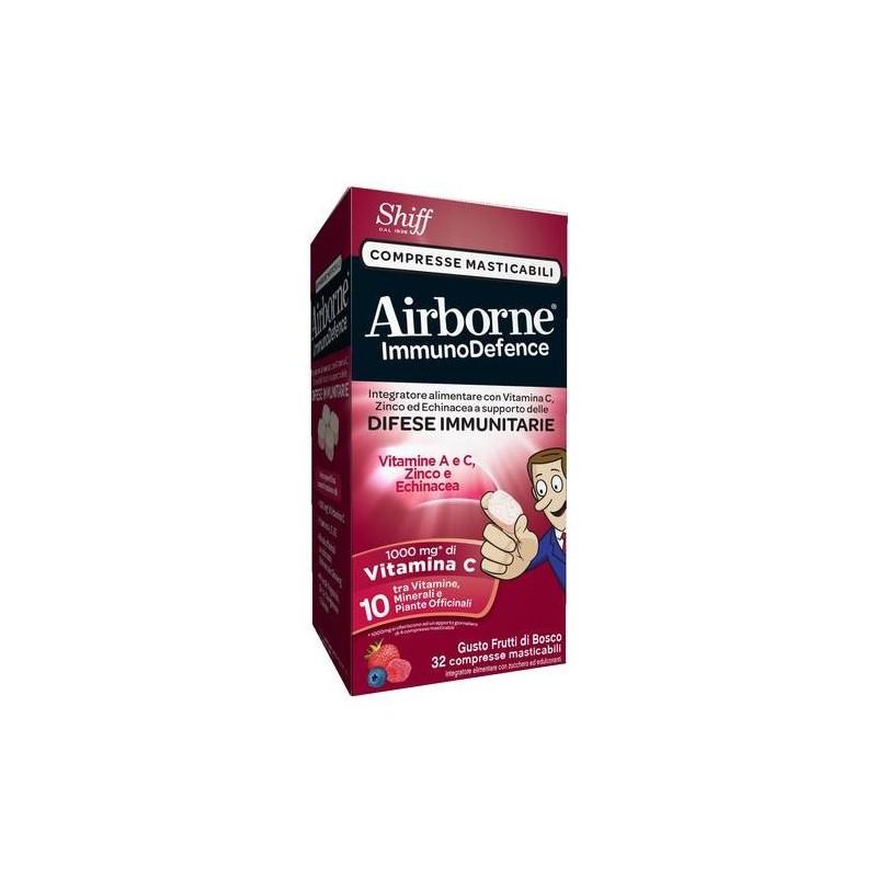 Airborne Immunodefence Integratore Difese Immunitarie 32 Compresse Masticabili Gusto Frutti di Bosco