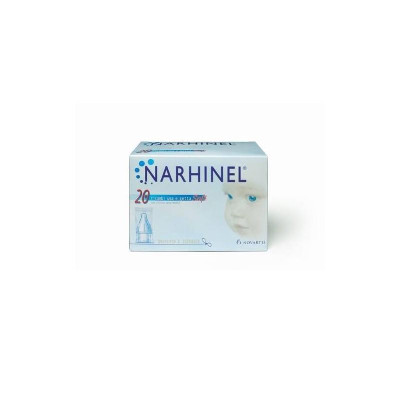 Narhinel 20 Ricariche Usa e Getta Soft Aspiratore Nasale