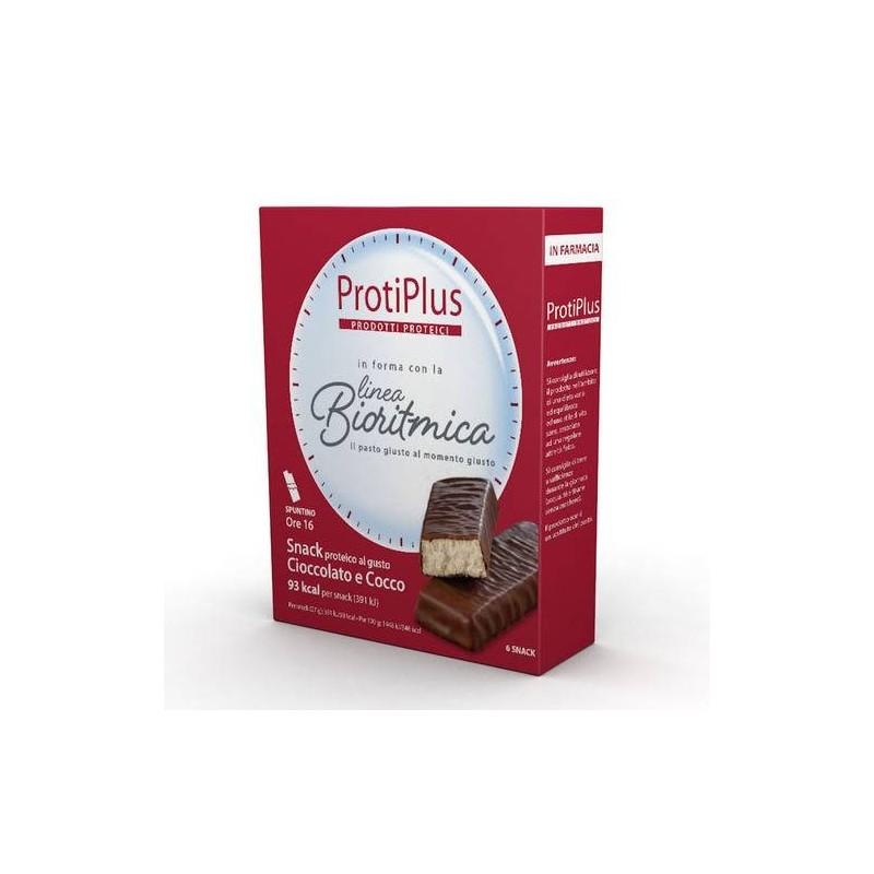 Protiplus Barretta Cioccolato e Cocco Snack Iperproteico 6 Pezzi